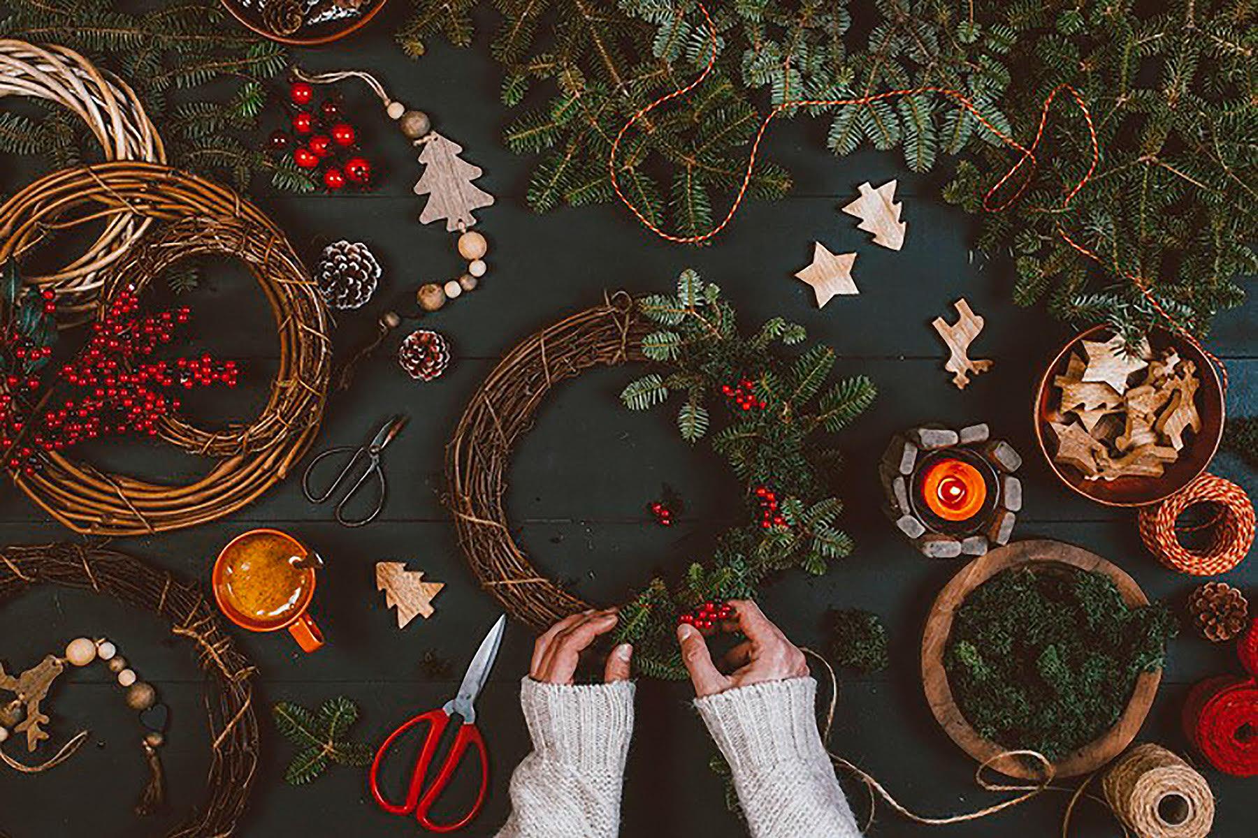 Green Christmas Adventskranz selber basteln