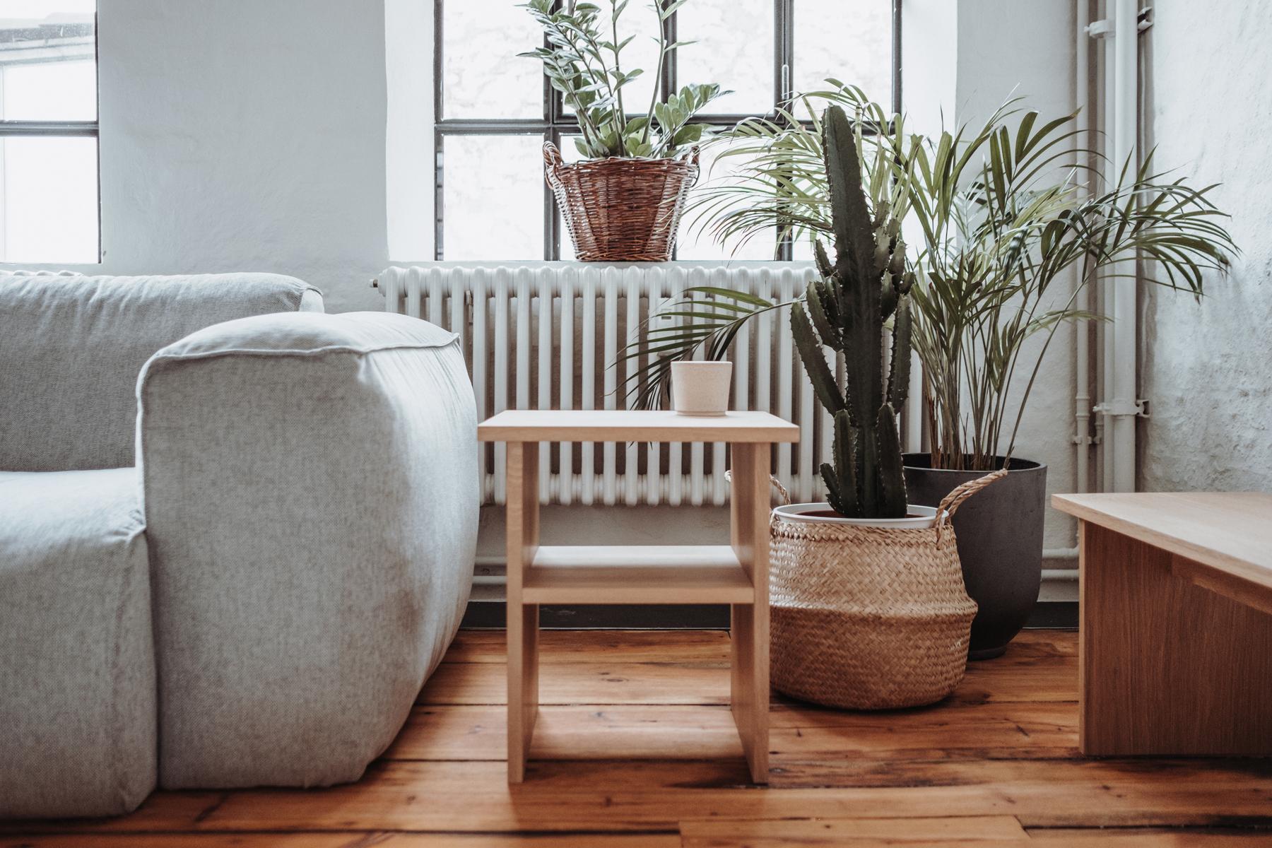 Minimalistisches Design von Slichtweg hier ein Holzhocker und Pflanzen