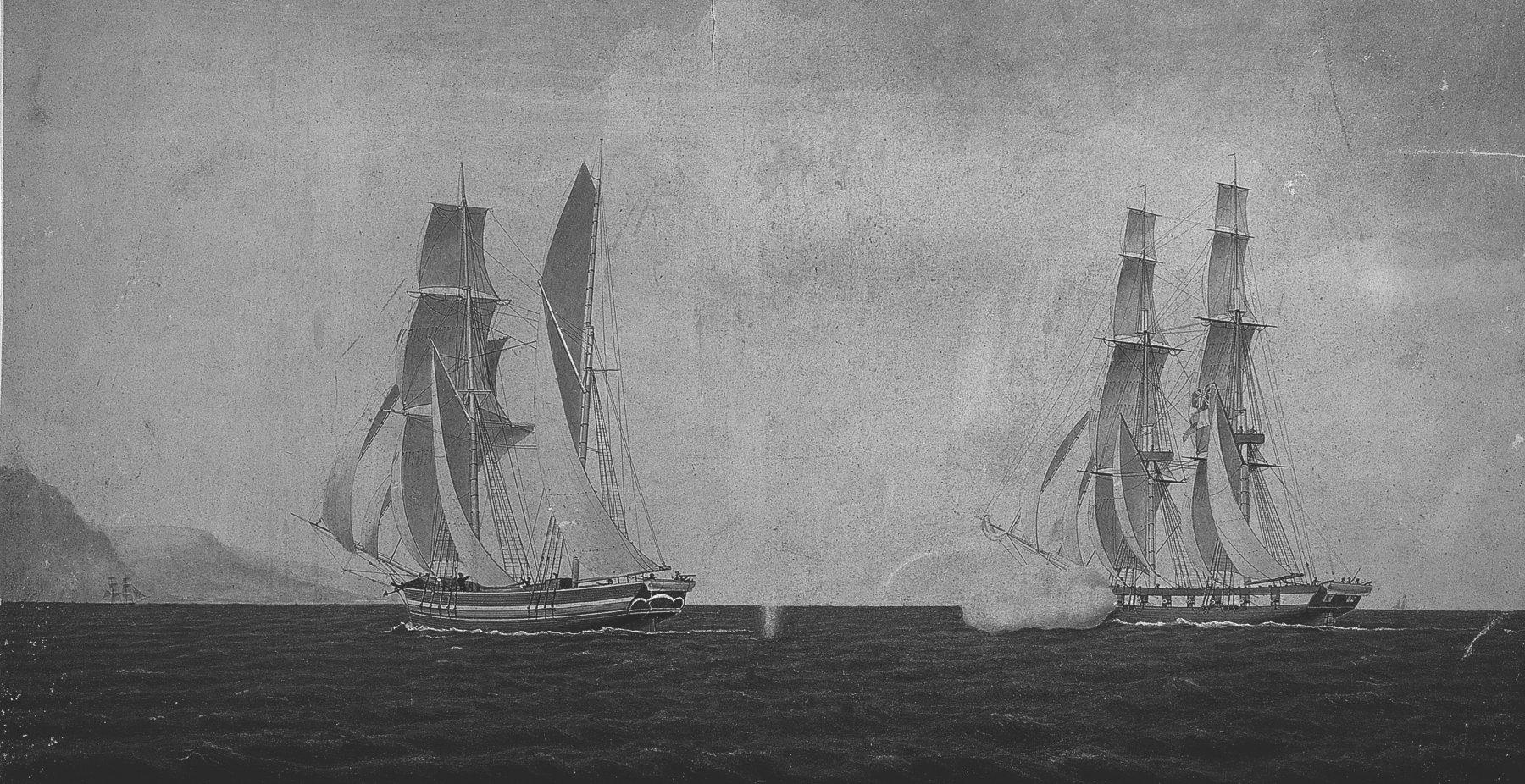 Altes Foto von Segelschiffen vor Hamburg.